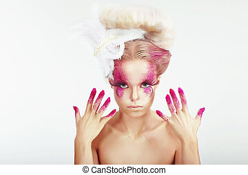 Creative Makeup Outre Womans Spotted Face and Stained...