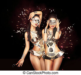 Firework & Fancy Dress Party. Showgirls over Sparkling...