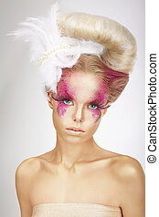 Faceart Blonde with Skin Colored Pink, False Lashes and...