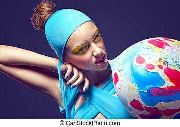 stagy, eccentrico,  balloon, grottesco, capriccio, aria, donna, trucco