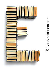 Letter E formed from the page ends of books - Letter E...