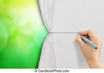 hand drawing rope to open crumpled paper to show green nature ba