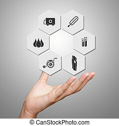 Medicine doctor hand showing icons as medical concept