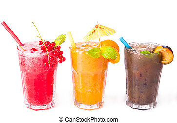 Summer drink - Fresh juice drinks isolated on white...