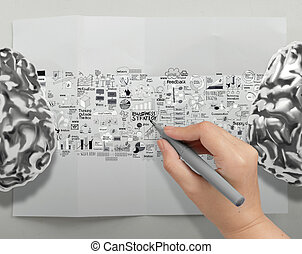 hand drawing metal brains 3d with business strategy icons as...