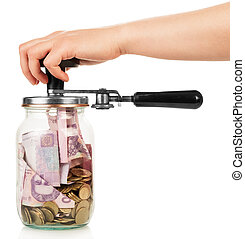 Financial reserves Money conserved in a glass jar by female...