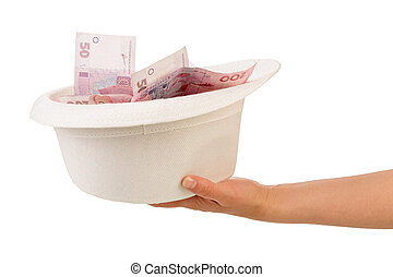 Money laundering with bowl in human hand