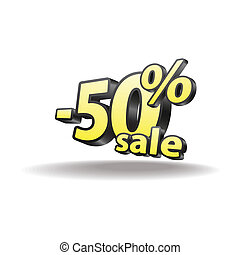 Fifty percent discount icon on white background. Isolated. Black and yellow. Sale.