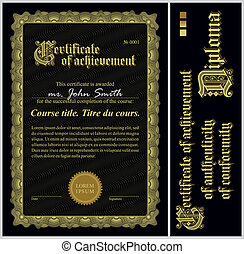 Black and gold certificate Template Vertical Additional...