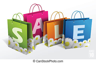 Illustration of shopping bags on white. Spring sale. Vector