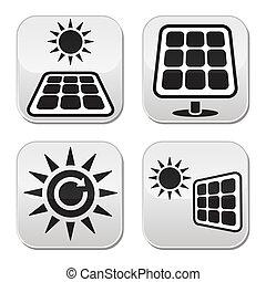 Solar panels, solar energy white bu - Vector buttons set of...