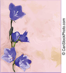 Greeting floral card with bluebells on grunge stained background