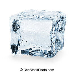 Ice cube on a white background. Clipping Path