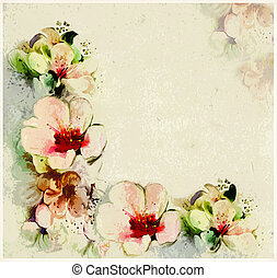 Floral aged postcard with stylized spring flowers on grunge stained background