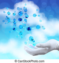 scientist doctor hand holds virtual 3d molecular structure...
