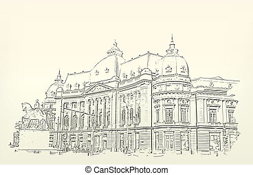 Architecture. Sketch. Drawing of building