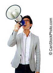 Portrait of young asian man shouting with megaphone