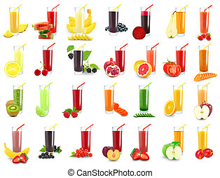 juices - vegetable and fruit juice in glass on white...