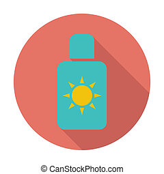 Sunscreen. Single flat color icon. Vector illustration.