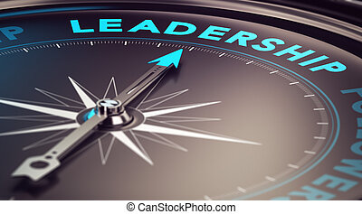 Leadership - Compass with needle pointing the word...