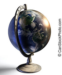 earth desktop metal globe show american continent