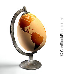 egg earth globe with american continent, conceptual image....