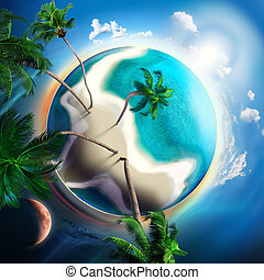 tropical small planet with coconut trees - tropical planet...