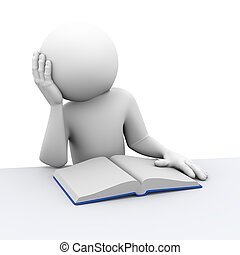 3d bored person reading book - 3d rendering of stressed...
