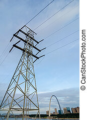 high voltage power line with st louis skyline