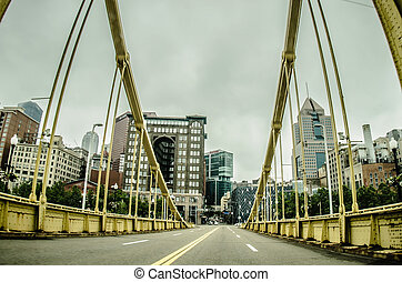 Big empty bridge in downtown Pittsburgh Pennsylvania