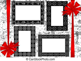 Frames with bows on grunge background
