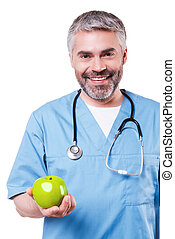 Join healthy lifestyle Happy mature surgeon in blue uniform...