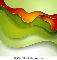 Abstract green red wave paper background