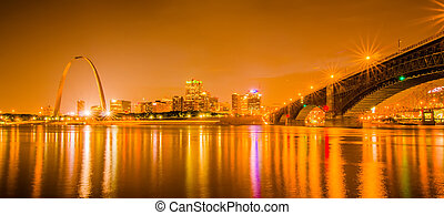 City of St. Louis skyline. Image of St. Louis downtown with...