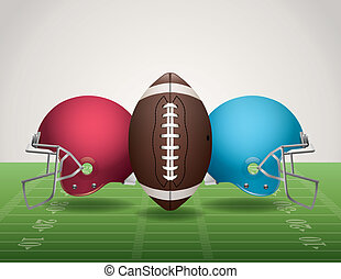 American Football Field, Ball, and Helmets - An illustration...