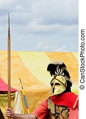 Sentry with spear - Roman Sentry guarding tent