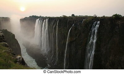 Victoria Falls sunset - Victoria Falls at sunset, View from...