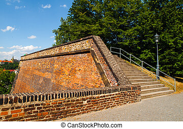 Fortification od Vysehrad Castle with staircase and...