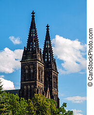 Twin towers of Basilica of St Peter and St Paul in Vysehrad...