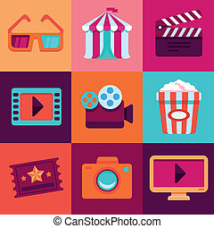 Vector flat cinema icons in bright colors and trendy style