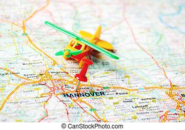 Hannover ,Germany map airplane - Close up of Hannover map...