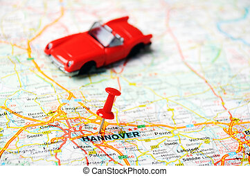 Hannover ,Germany map car - Close up of Hannover map with...