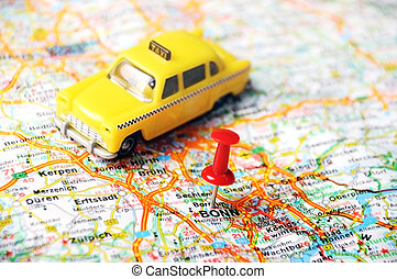 Bonn,Germany map taxi - Close up of Bonn, Germany map with...