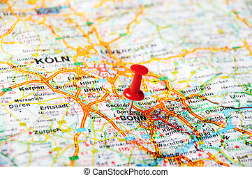 Bonn,Germany map - Close up of Bonn map with red pin -...