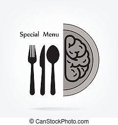 Creative brain Idea concept with spoon,fork and knife sign...