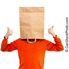 Man in bright clothes with a paper bag on head, isolated -...