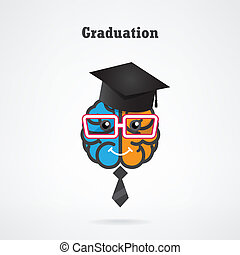 creative brain graduation concept ,design for poster flyer...