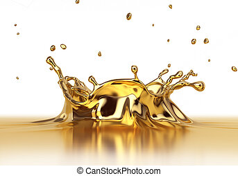 Liquid gold spash close up. Side view on white background....