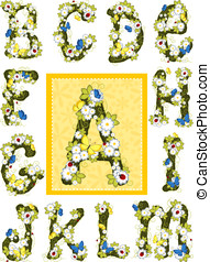 Summer flower alphabet. Letters A-M