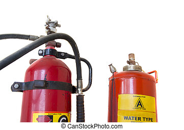 Fire fighting cylinders on white background